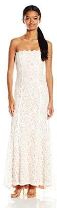 Jump Junior's Strapless Lace Long Prom Dress, Ivory/Taupe, 1
