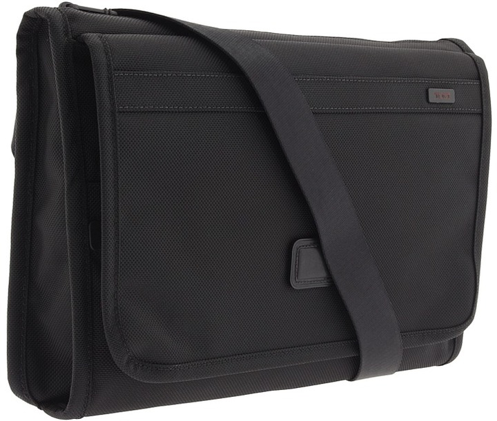 Tumi Alpha Travel - Flap Zip Cross Body (Black) - Bags and Luggage