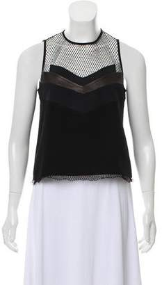 Rag & Bone Sleeveless Leather and Mesh Accented Top