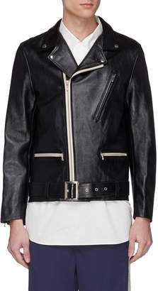 Digawel Belted cow leather biker jacket