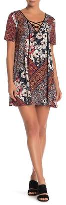BCBGeneration Lace-Up Printed Dress