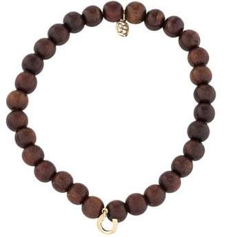 Sydney Evan 14K Horseshoe Wood Bead Bracelet