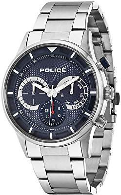 Police Men's Quartz Watch with Blue Dial Chronograph Display and Silver Stainless Steel Bracelet 14383JS/03M