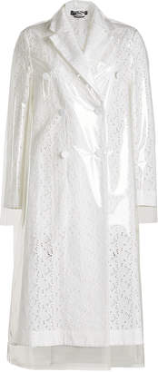 Calvin Klein Cotton and Linen Trench Coat with Detachable Transparent Overlay