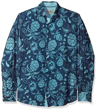 Margaritaville Men's Long Sleeve Pineapple Paisley Print Shirt