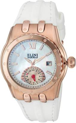 Elini Barokas Women's 'Genesis Vision' Swiss Quartz Stainless Steel and Silicone Automatic Watch, (Model: 20029-RG-02-WHT)
