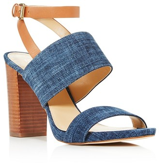MICHAEL Michael Kors Denim and Leather Arden High Block Heel Sandals - 100% Exclusive $140 thestylecure.com
