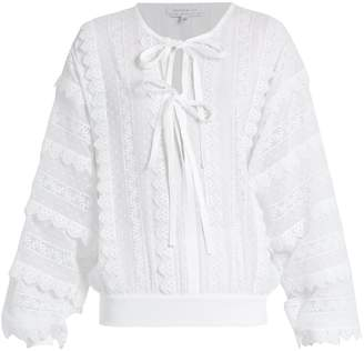Andrew Gn Lace-trimmed tie-neck cotton blouse