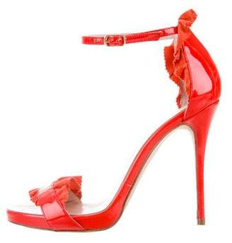 Oscar de la Renta Patent Leather Multistrap Sandals