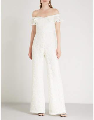 Alexis Edlyn off-the-shoulder floral-lace jumpsuit