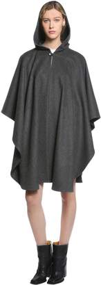 Saint Laurent Hooded Double Flannel Wool Cape