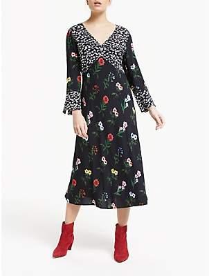 Elodie K Finery V Neck Floral Midi Dress, Black/Multi
