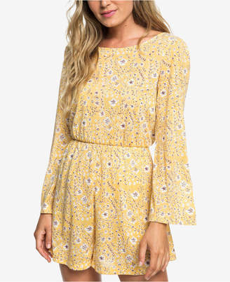Roxy Juniors' Floral-Print Bell-Sleeve Dress