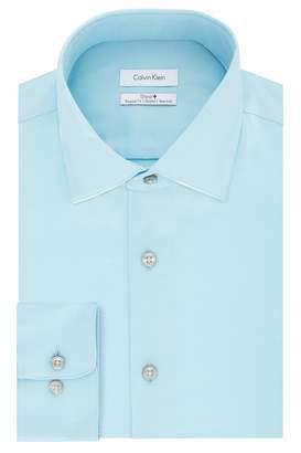 Calvin Klein Men's Dress Shirts Regular Fit Stretch Solid Spread Collar