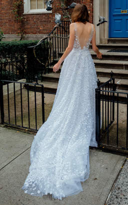 Mira Zwillinger Gigi V Beaded Lace Gown With Train