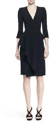 Alexander McQueen 3/4-Sleeve Draped-Ruffle Dress, Black $2,385 thestylecure.com