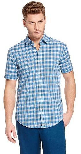 HUGO BOSS Marco Slim Fit, Cotton Checked Button Down Shirt - Medium Blue