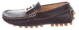 Fendi Boys' Leather Zucca-Embellished Loafers