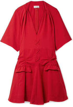 Carven Lace-up Ruched Canvas Mini Dress - Red