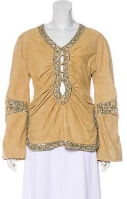 Christian Dior Embellished Suede Top