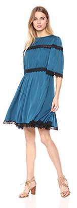 Ella Moon Women's Cali Lace Yoke And Waist Trim Gathered A-line Dress
