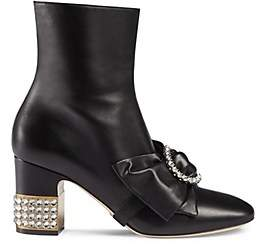Gucci Women's Candy Leather Ankle Boots - Black
