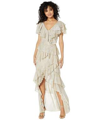 Badgley Mischka V-Neck Ruffle