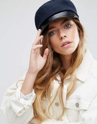 Asos Navy Baker Boy Cap With Patent PU Peak