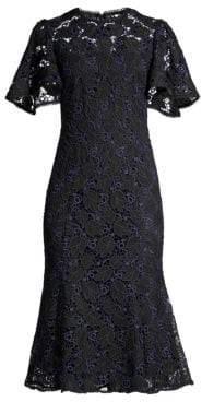 Shoshanna Harmonia Eyelet Lace Butterfly Sleeve Flounce Dress