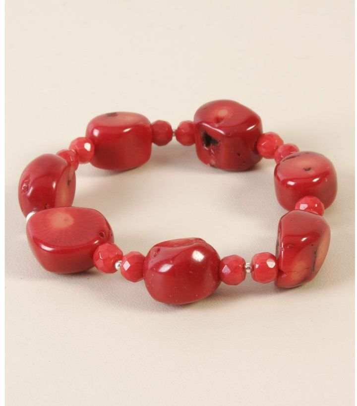 Barse coral nugget stretch bracelet