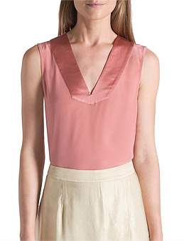 David Lawrence S/Less Silk Satin Mix Tank