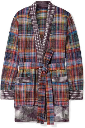 Missoni Belted Plaid Cotton-blend Flannel Cardigan - Purple