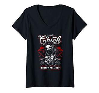 Womens This Chick Didn't Fall Off Biker Bitch Gift Chick Outlaw V-Neck T-Shirt