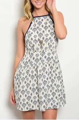 En Creme Cream Navy Dress