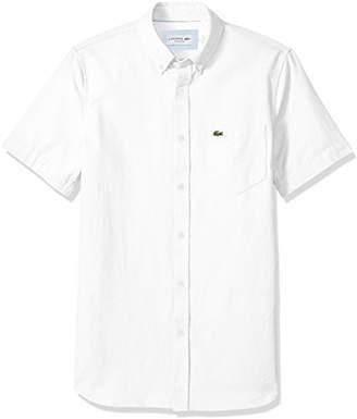 Lacoste Men's Short Sleeve Solid Washed Pique Regular Fit Woven Shirt