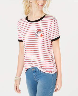 Rebellious One Juniors' Frenchie Striped Ringer T-Shirt