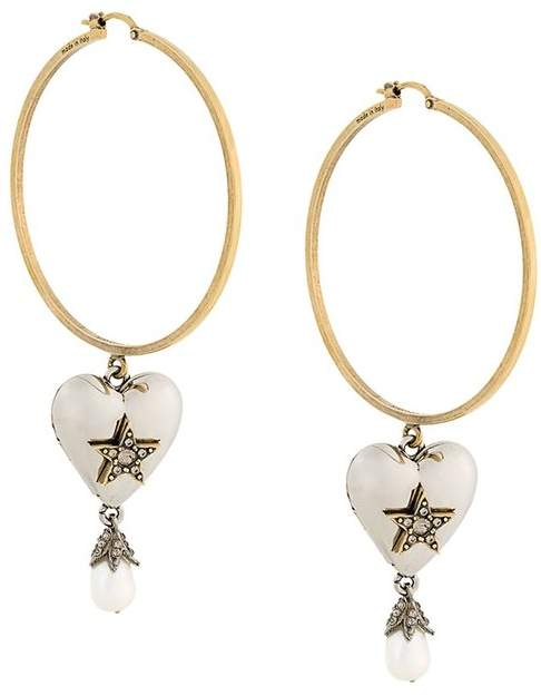 Alexander McQueen heart pearl hoop earrings