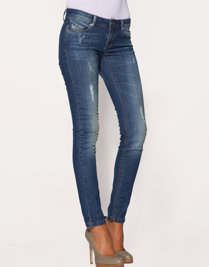 ASOS Ripped Mid Blue Iggy Jeans