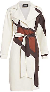 Akris Women's Eevee Silk-Blend Line & Dot Belted Coat