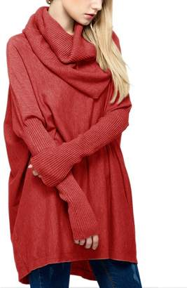 R & E Sexyshine Women's Cowl Neck Loose Oversized Knit Wool Pullover Sweaters(Re)