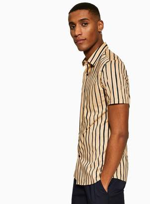 Brown Stripe Stretch Skinny Shirt