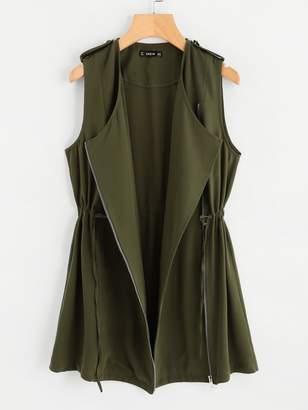 Shein Drawstring Waist Zipper Up Vest