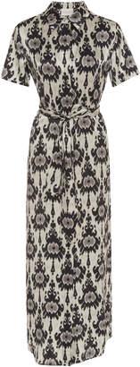 Marie France Van Damme Silk-Satin Ikat-Print Shirt Dress