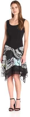 MSK Women's Asym Printed Knit to Woven Skirt Dress