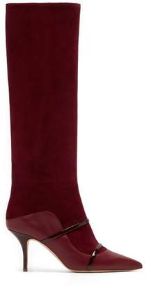 Malone Souliers Madison Knee High Suede Boots - Womens - Burgundy