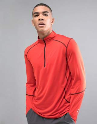 New Look SPORT Long Sleeve Top With Zip In Red