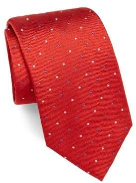 Brioni Dotted Raw-Silk Tie