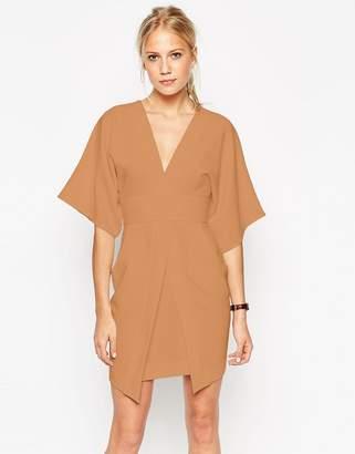 Asos DESIGN Mini Asymmetric Pocket Dress with Kimono Sleeves
