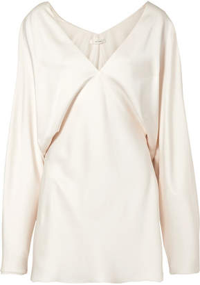 The Row Ran Draped Silk-satin Mini Dress - White
