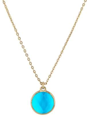 Melinda Maria Hunter Bezel Set Faceted Blue Tourmaline Pendant Necklace